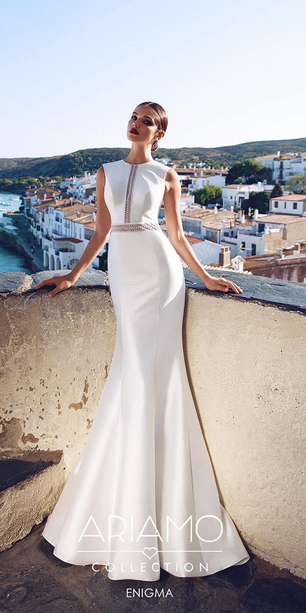 ariamo wedding dresses mermaid jewel neckline simple satin