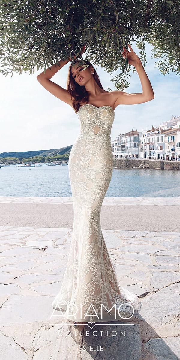 ariamo wedding dresses mermaid sweetheart neck beige