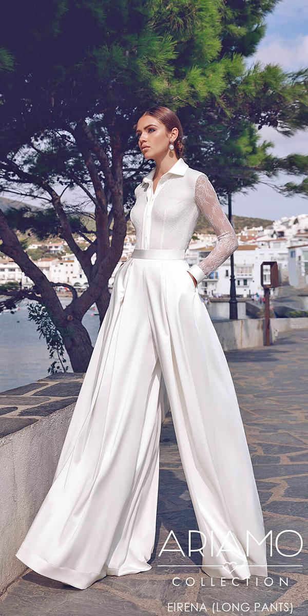 ariamo wedding dresses pantsuit with long sleeves modern 2018