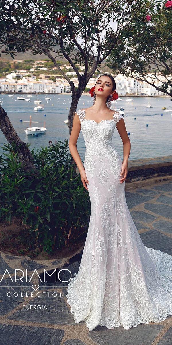 ariamo wedding dressess heath illusion neckline with cap sleeves lace embellishment vintage