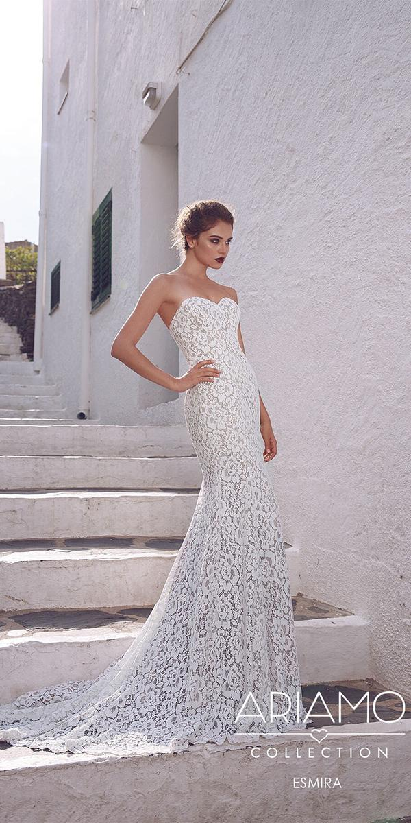 ariamo wedding dresses sheath sweetheart lace floral with train