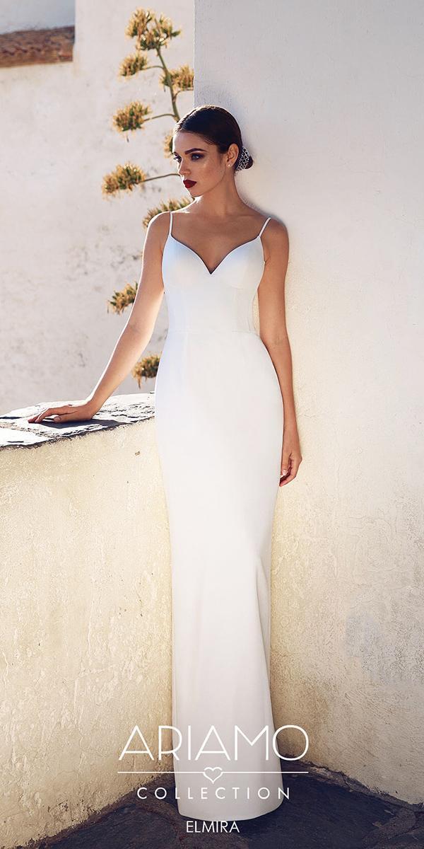 ariamo wedding dresses sheath with spaghetti straps simple sexy