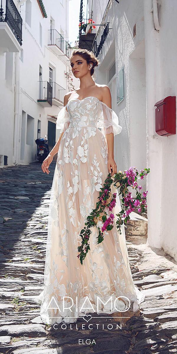 ariamo wedding dresses sweetheart off the shoulder floral embellishment 2018