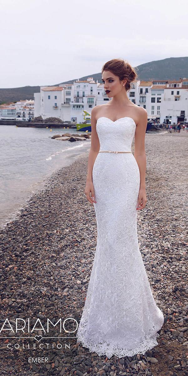 ariamo wedding dresses trumpet sweetheart lace gold belt