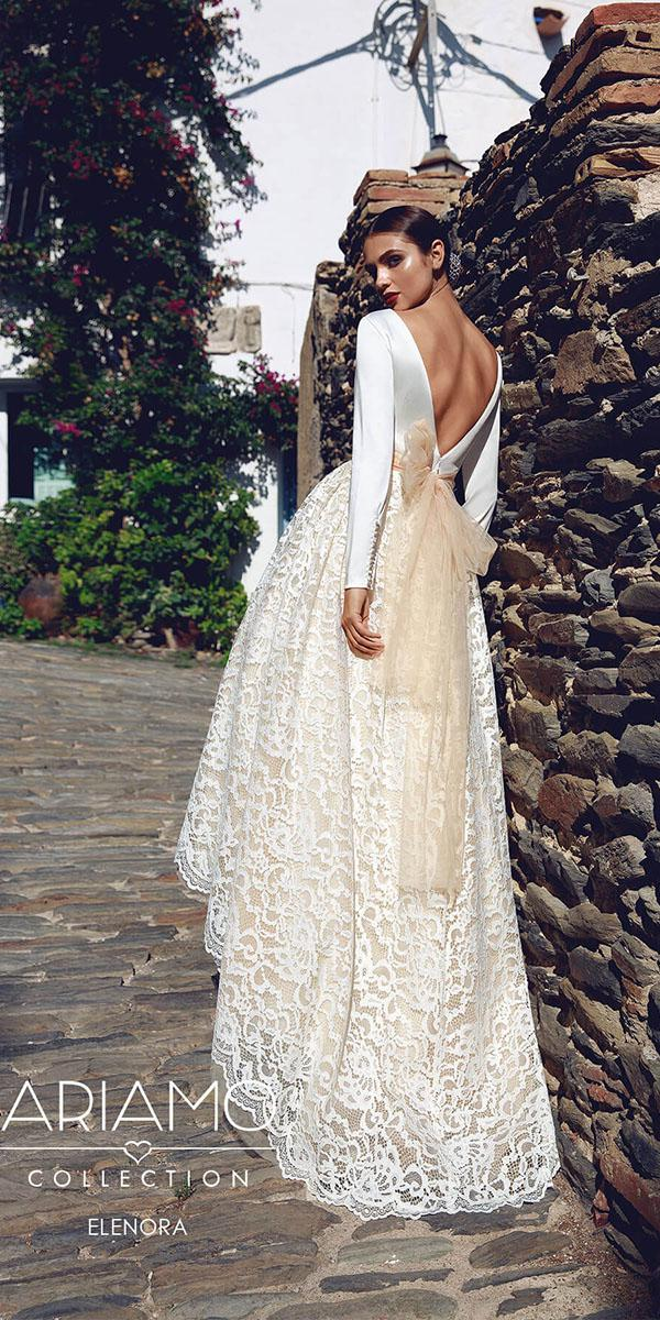ariamo wedding dresses v back with long sleeves lace embroidered skirt with bow