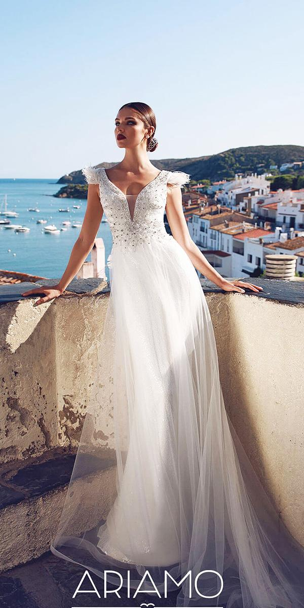 ariamo wedding dresses v neckline with cap sleeves 2018 beaded top