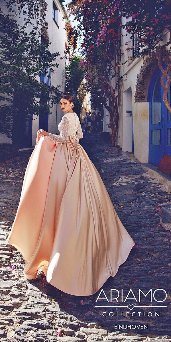 ariamo wedding dresses with long sleeves bow blush color