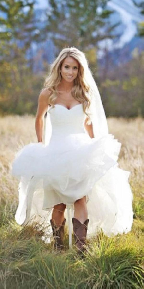 Barnyard Wedding Dresses A Line Sweetheart Neckline Simple With Boots Cheat Wood Photography
