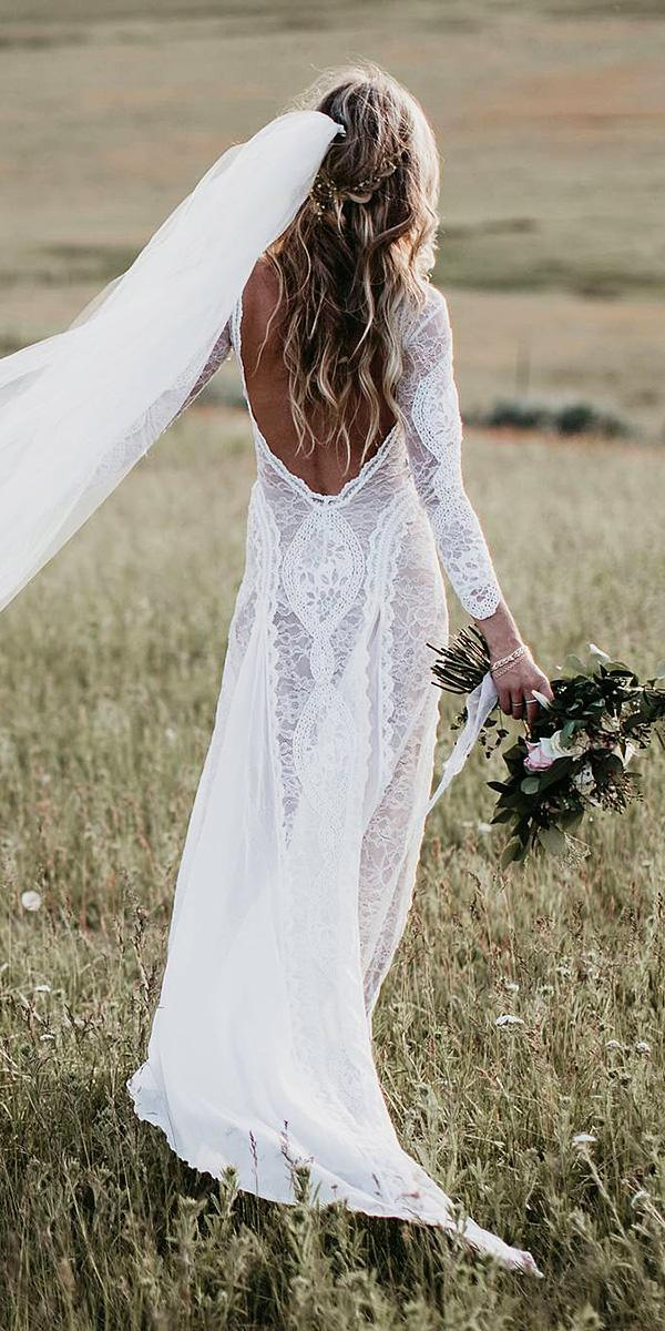 barnyard wedding dresses sheath with long sleeves low back rustic lace grace loves lace