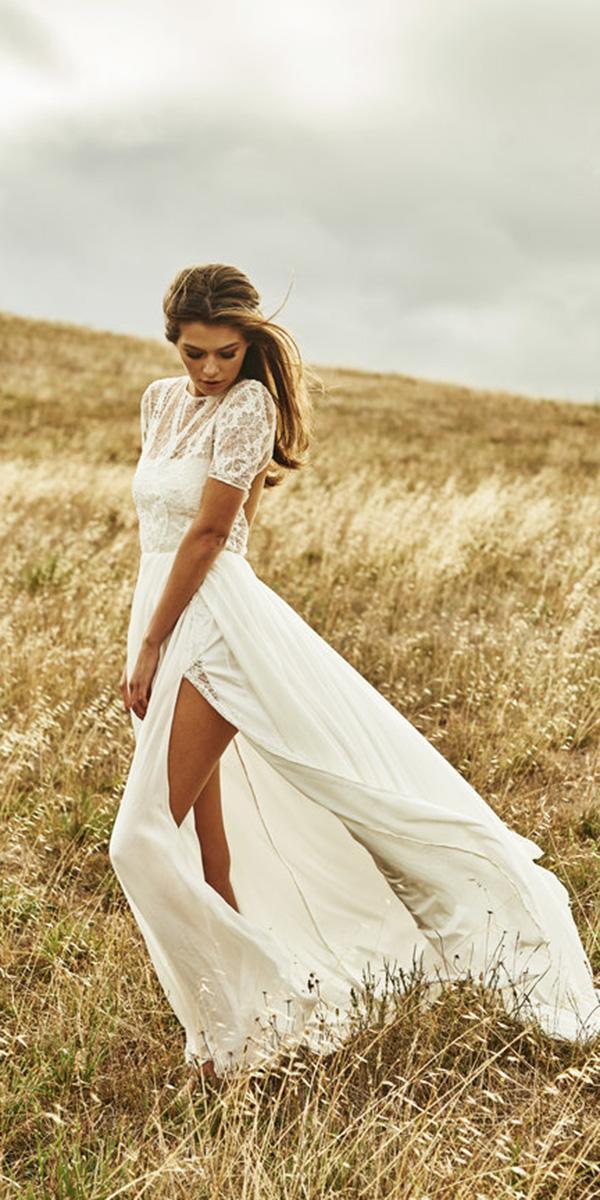 barnyard wedding dresses lae top with sleeves slit kane skenner