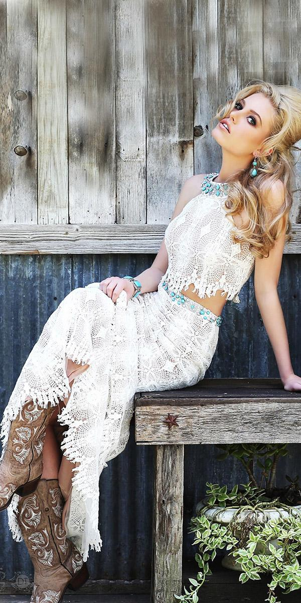 barnyard wedding dresses rustic with boots sherri hill