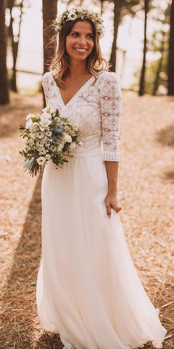 barnyard wedding dresses sheath v nekline with three quote sleeves lace top marie laporte creatrice