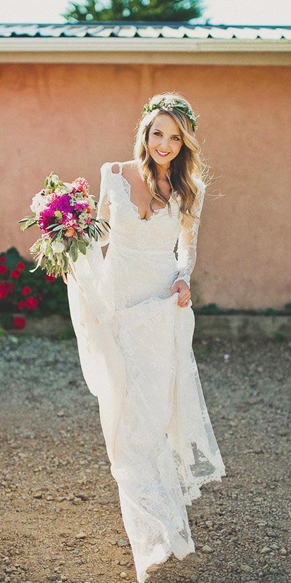 barnyard wedding dresses v neckline with sleeves lace hello may