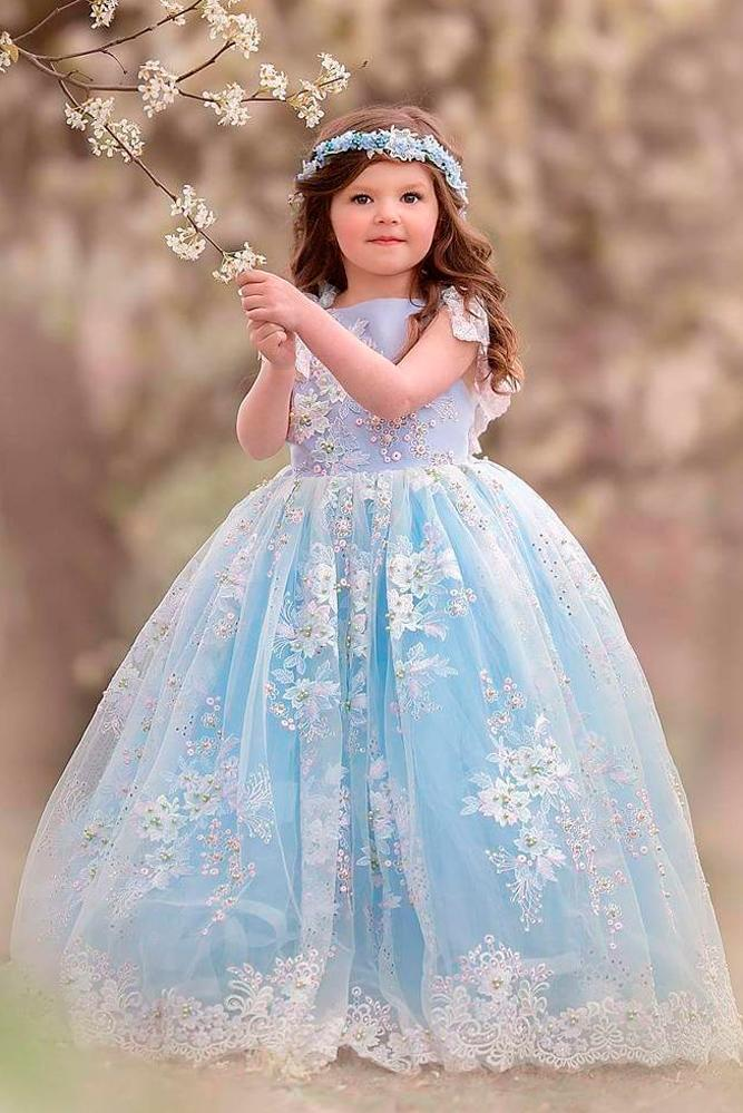 blue ball gown cap sleeves lace flower girl dresses anna triant couture