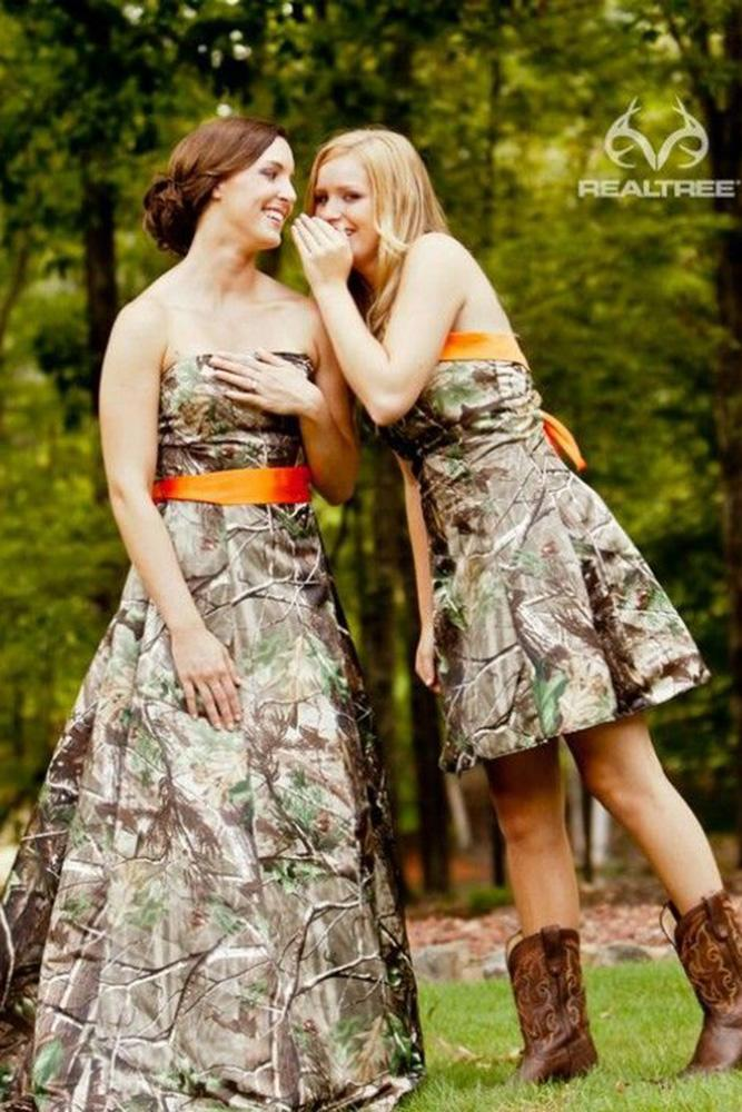 camo bridesmaid dresses short long with orange accent real tree