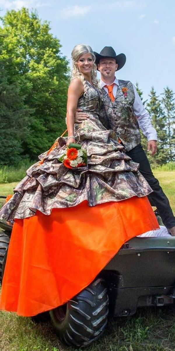 Camo Wedding Dresses Ball Gown With Orange Color Formal