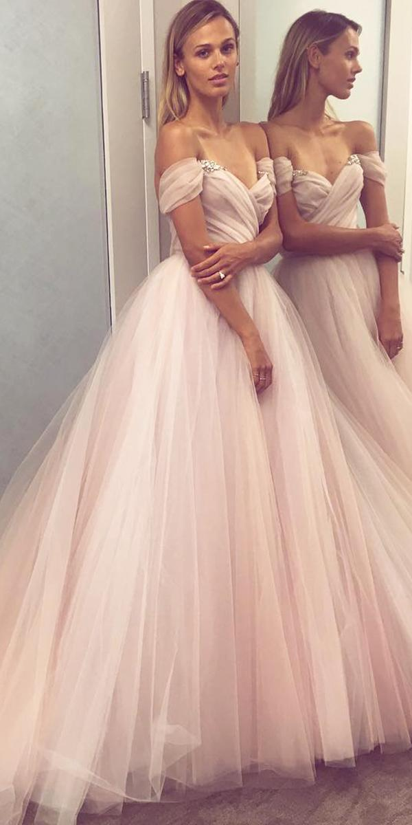 hayley paige wedding dresses a line off the shoulder blush tulle skirt