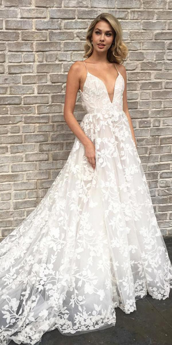 15 hayley paige wedding dresses for a romantic bride wedding hayley paige wedding dresses a line with spaghetti straps deep v neckline floral aplliques junglespirit Choice Image
