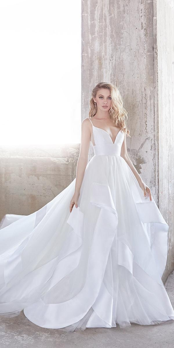 hayley paige wedding dresses ball gown straps deep sweetheart ruffled skirt-