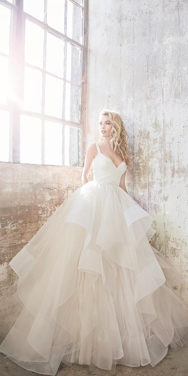 hayley paige wedding dresses ball gown sweetheart v neck ruffled skirt simple