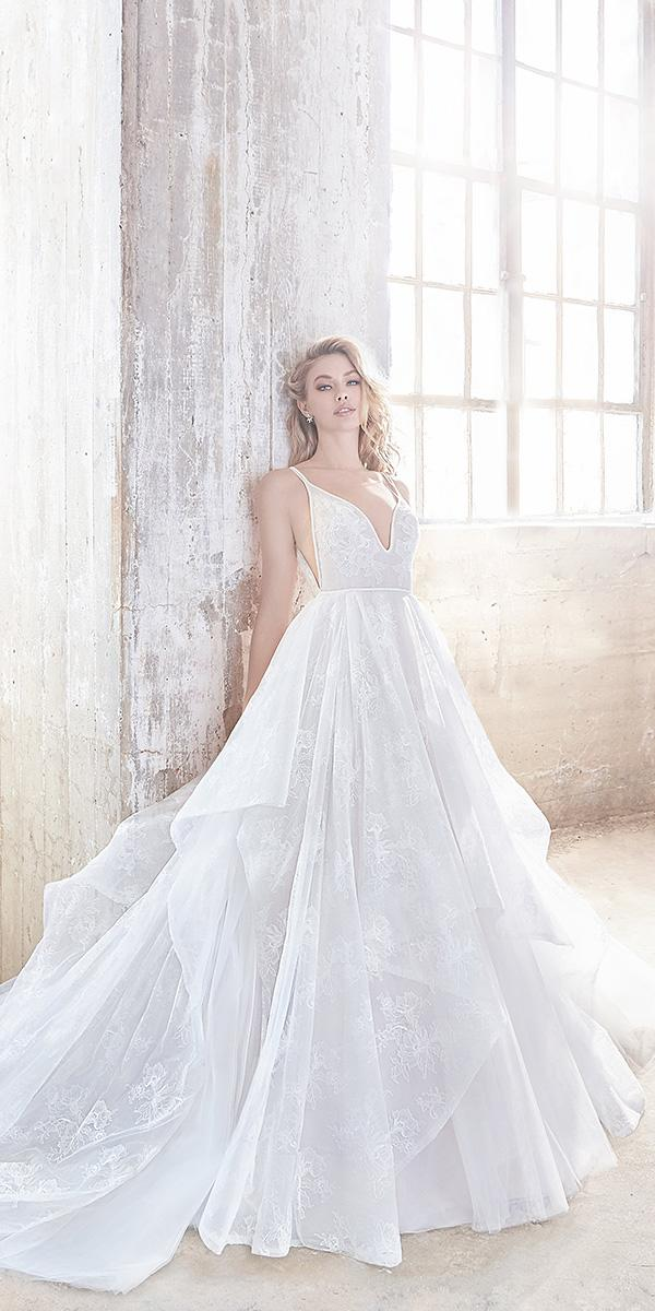 hayley paige wedding dresses ball gown with spaghetti straps lace applique 2018