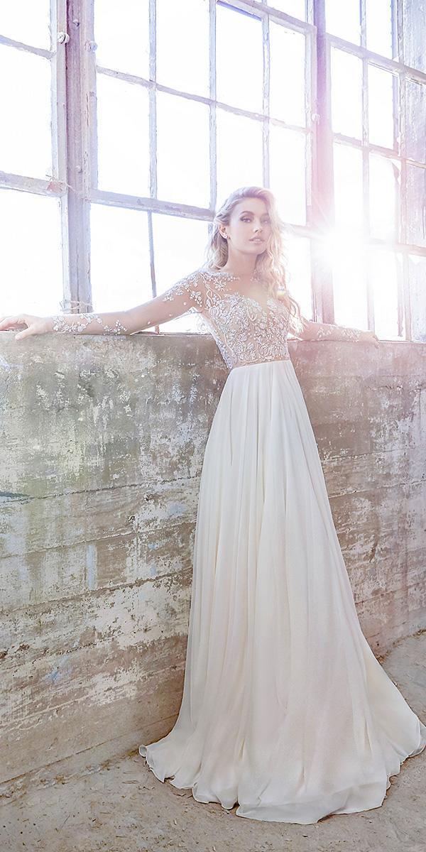 hayley paige wedding dresses with illusion sleeves bateau neckline ivory chiffon 2018