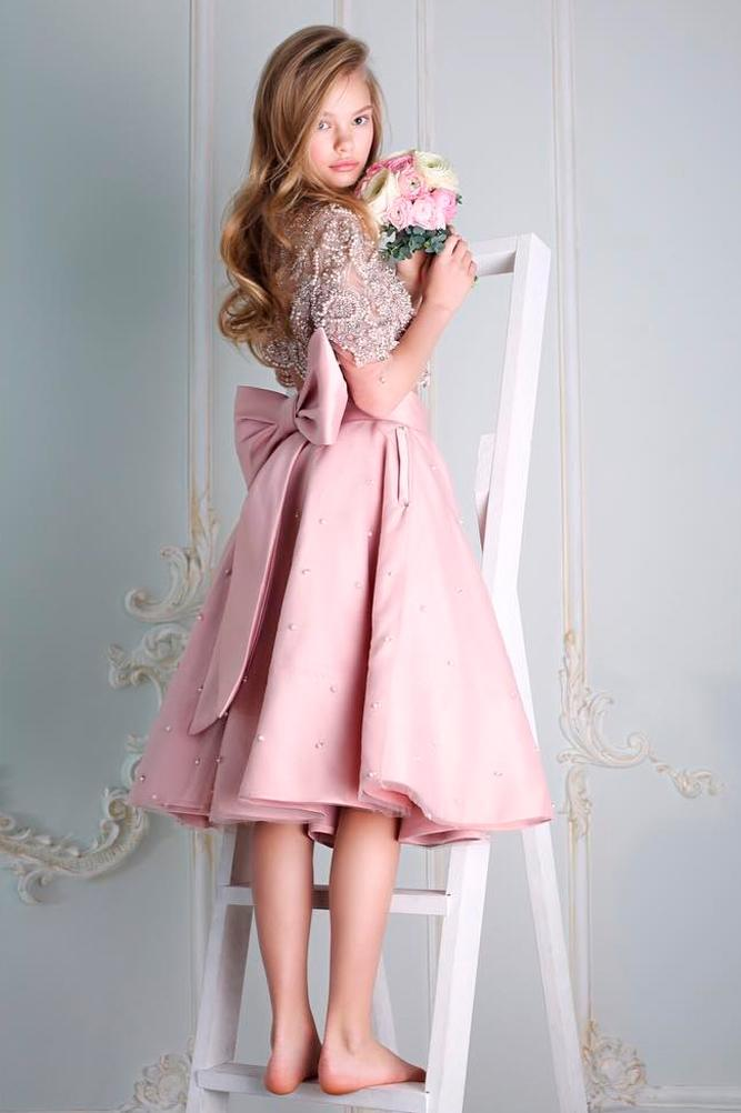 lace flower girl dresses blush a line with sleeves and back bow malyarova olga