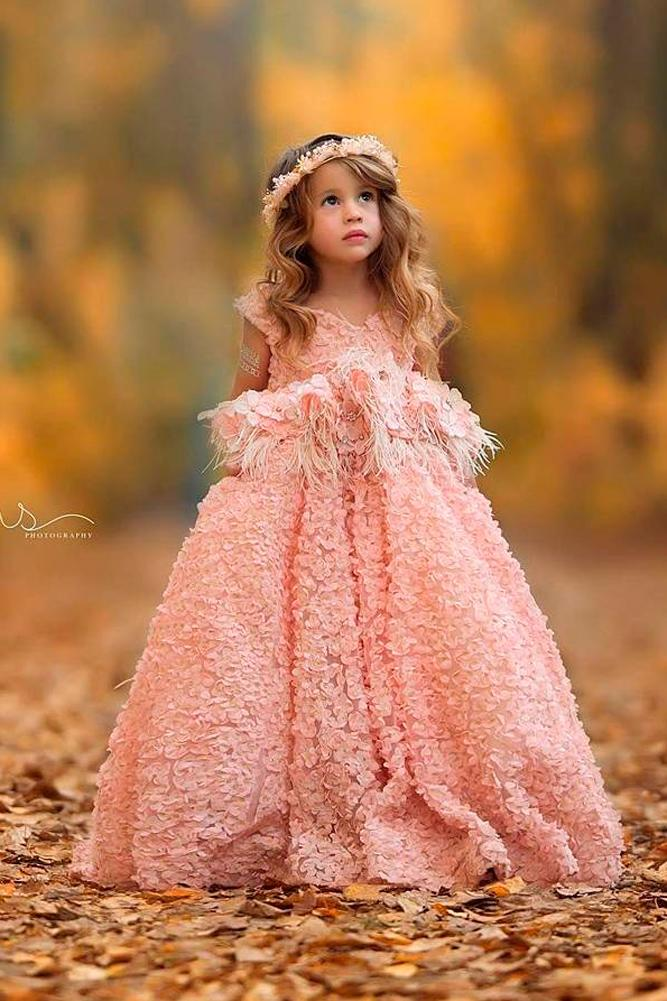 lace flower girl dresses blush ball gown cap sleeves floral applique anna triant couture