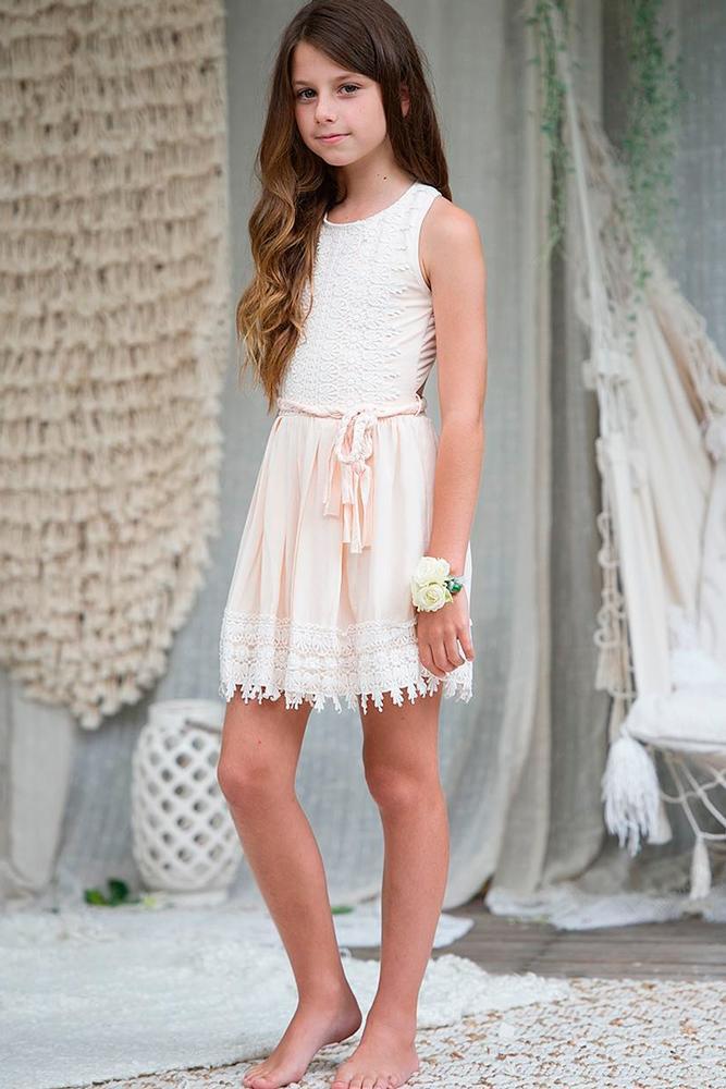 lace flower girl dresses blush straight sleeveless teaprincessaust
