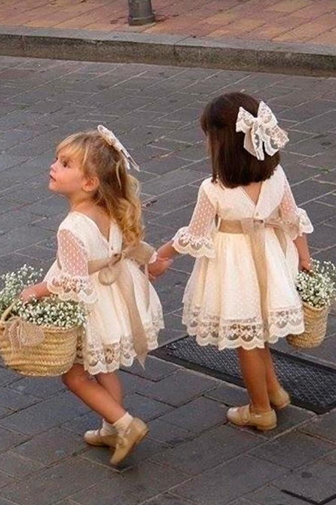 lace flower girl dresses short rustic with long sleeves and back bows marinasmoda