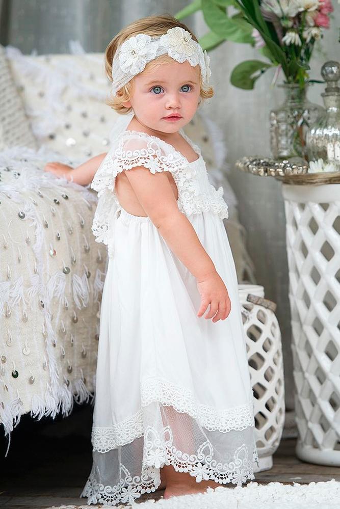 lace flower girl dresses straight long white cap sleeves tea princess aust