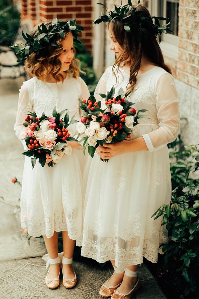 lace flower girl dresses straight white long sleeves high neckline len lav