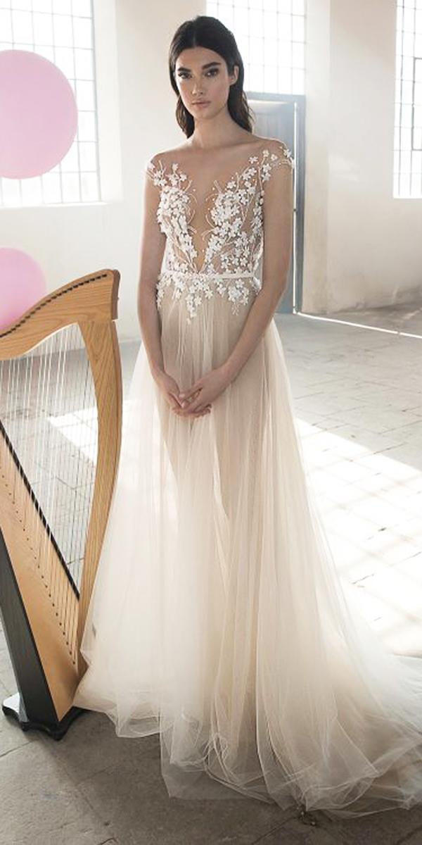 lee petra grebenau wedding dresses a line illusion neckline with cap sleeves blush flower appliques 2018