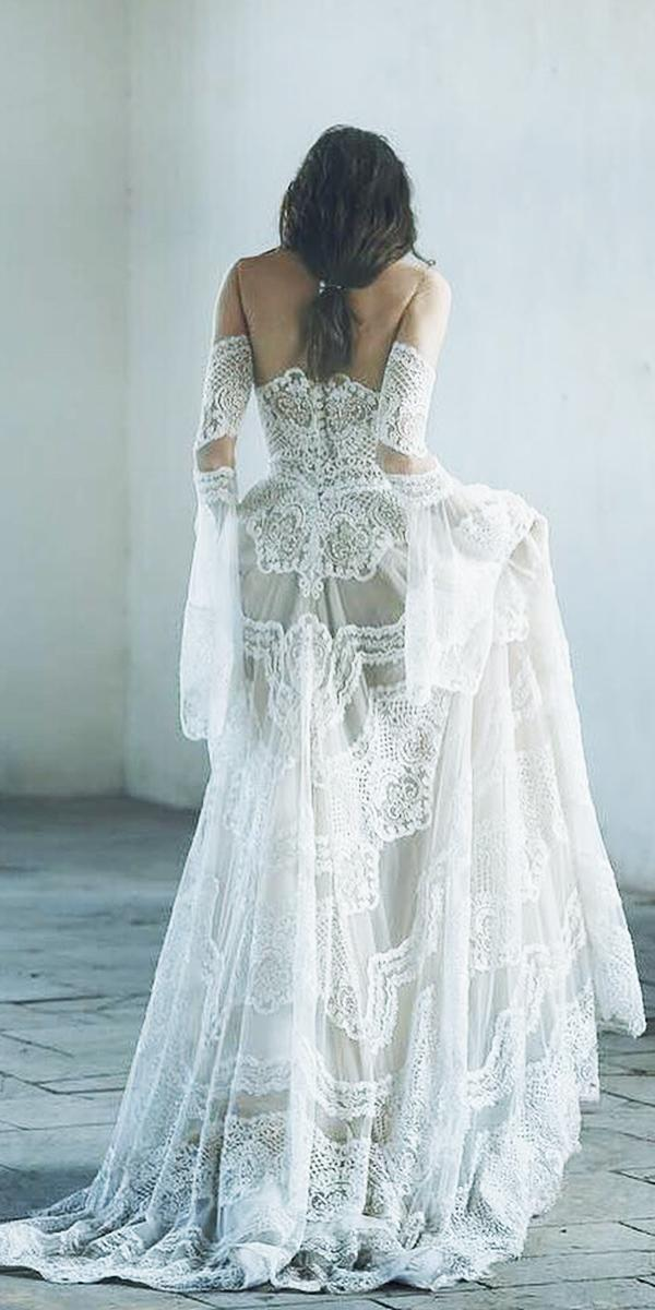 lee petra grebenau wedding dresses a line with detached sleeves full unique lace buttons boho