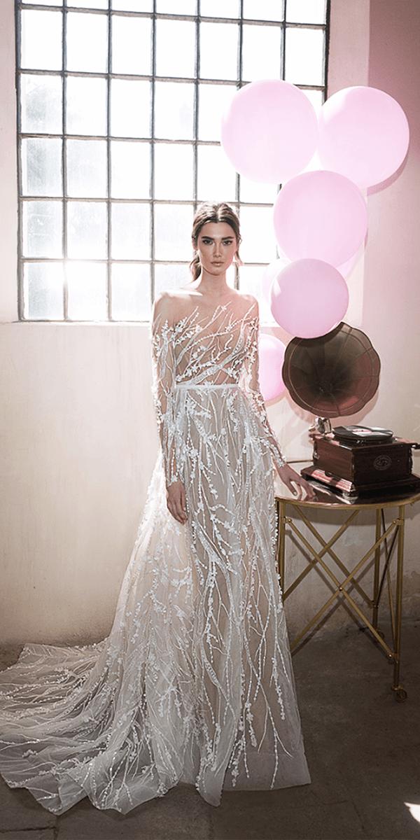 lee petra grebenau wedding dresses a line with long illusion sleeves floral train