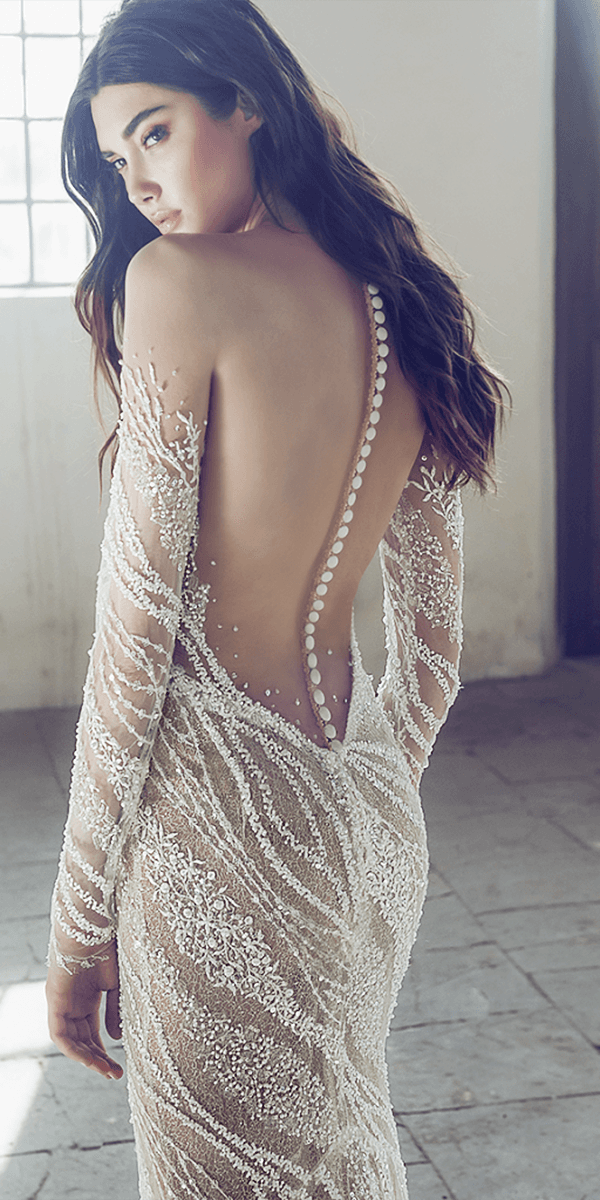 lee petra grebenau wedding dresses illusion back with buttons off the shoulder long sleeves blush