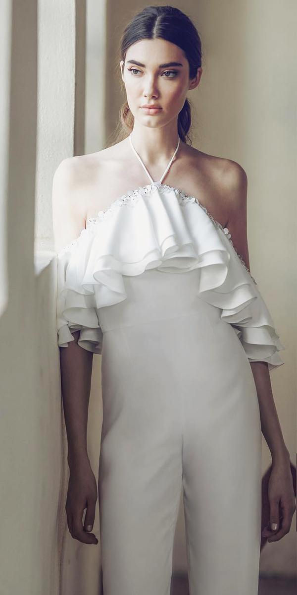 lee petra grebenau wedding dresses jumpsuits halter neck modern trend 2018