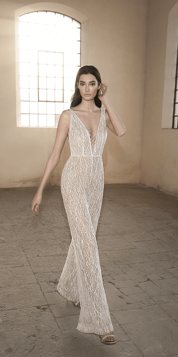 lee petra grebenau wedding dresses pantsuit deep v neckline floral beaded lace