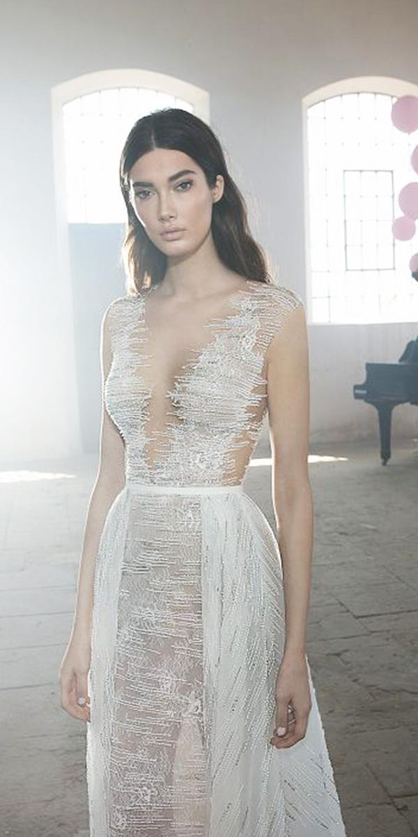 lee petra grebenau wedding dresses v neckline with overskirt delicate lace detached train