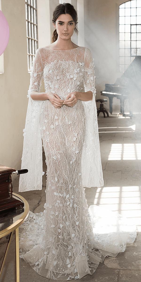 lee petra grebenau wedding dresses sheath with sleeves floral appliques 2018
