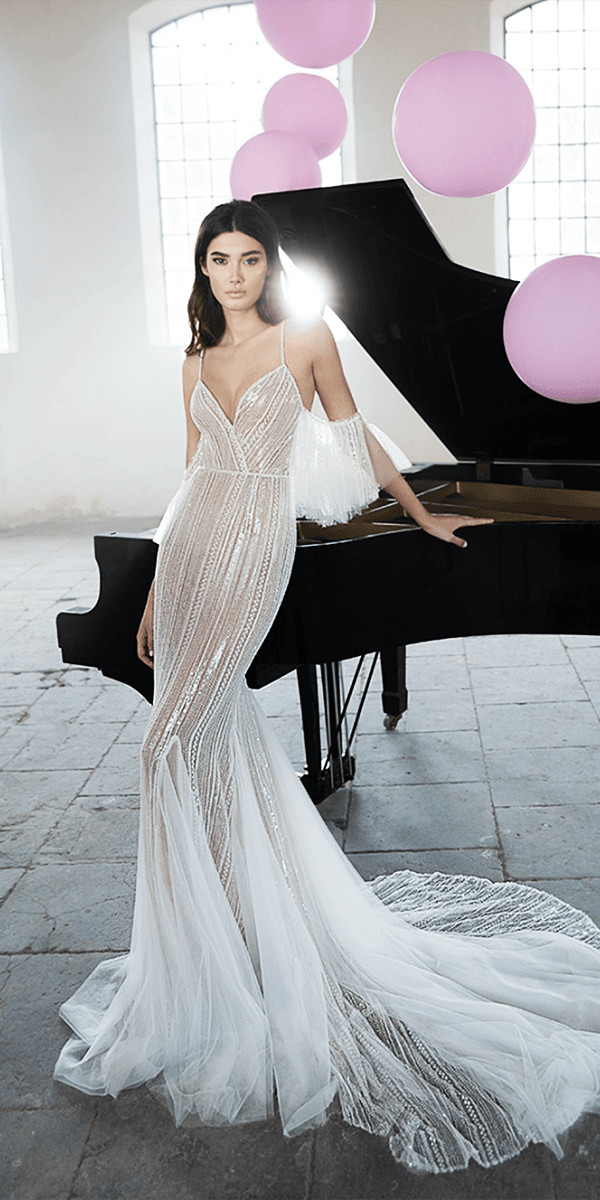 lee petra grebenau wedding dresses sheath v neckline with spaghetti straps drape cap sleeves 2018