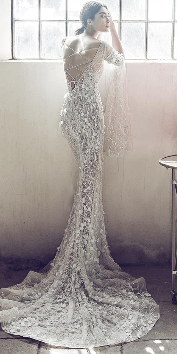 lee petra grebenau wedding dresses sheath x cross back with floral appliques