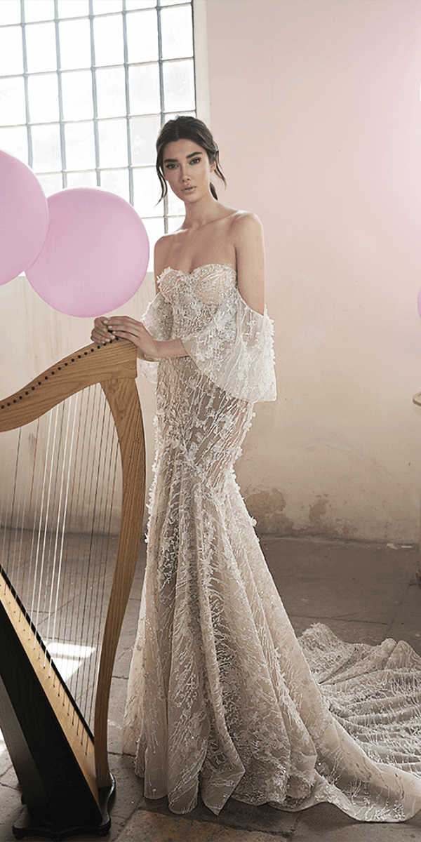lee petra grebenau wedding dresses trumpet strapless with sleeves unique lace 3d floral