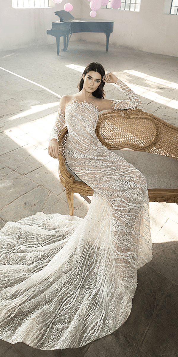 lee petra grebenau wedding dresses with illusion off the shoulder long sleeves ivory 2018