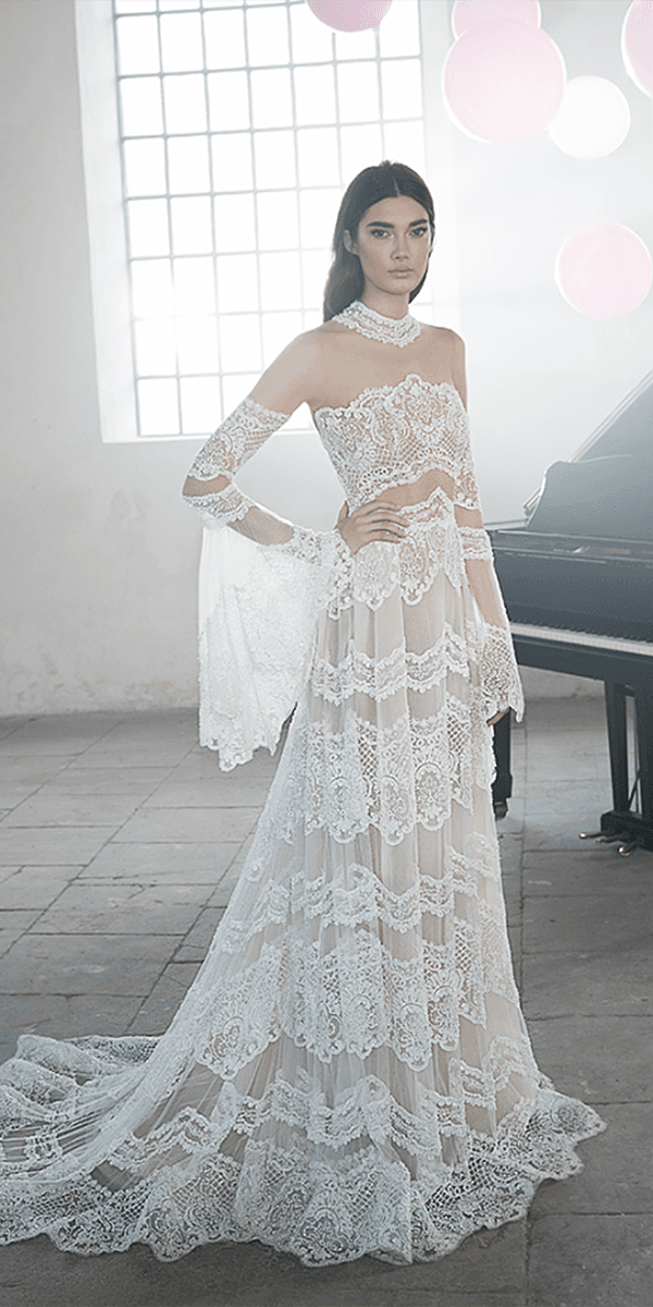 lee petra grebenau wedding dresses with detached sleeves exquisite lace boho 2018