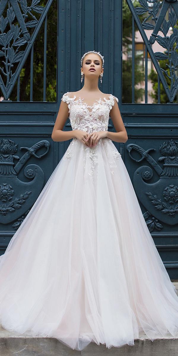 liretta wedding dresses a line illusion neckline with cap sleeves floral top