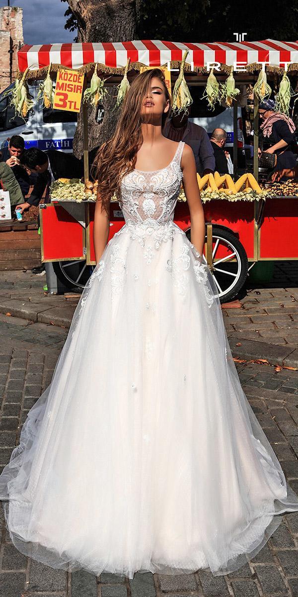 liretta wedding dresses a line square neckline lace embroidered