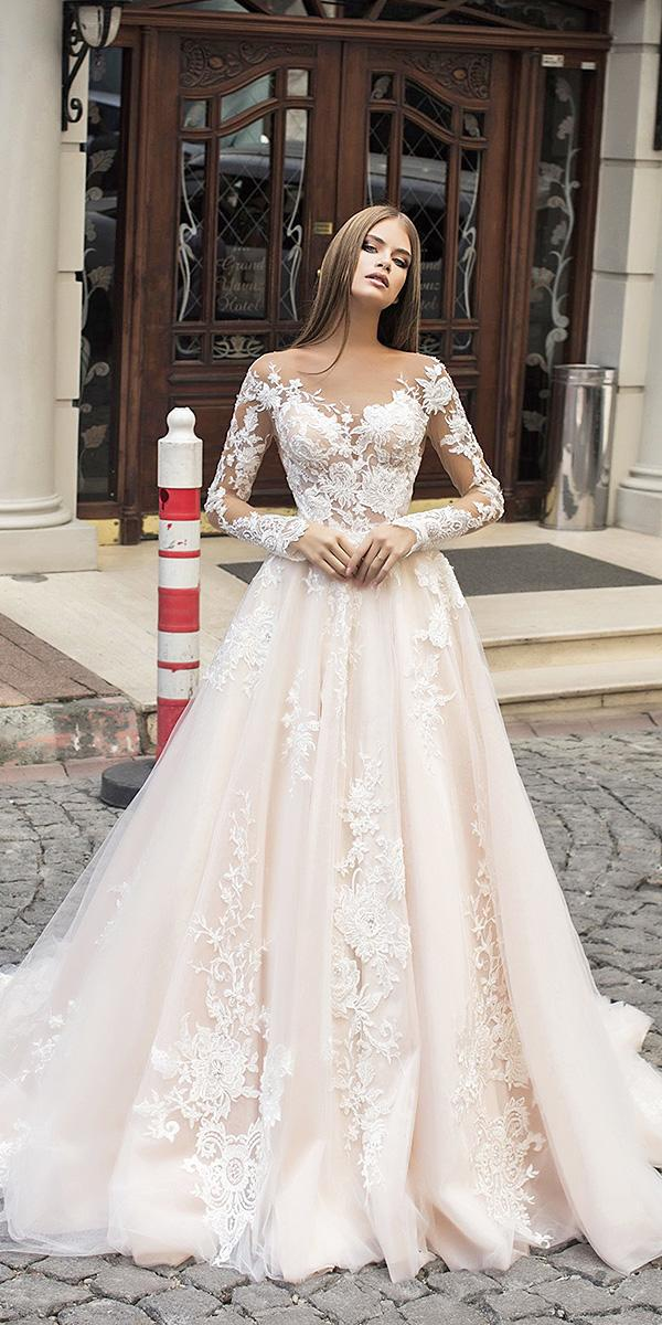 liretta wedding dresses a line with illusion long sleeves champagne full lace