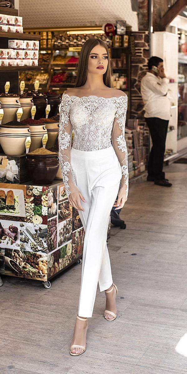 liretta wedding dresses jumpsuits off the shoulder lace top modern 2018