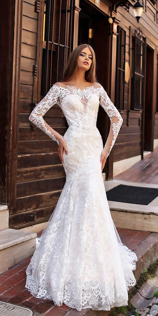 liretta wedding dresses mermaid off the shoulder sleeves full lace